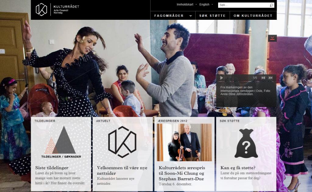 skjermdump av forsiden på Kulturradet.no